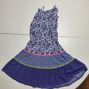 Cherokee 4T long blue, White, pink & green dress.